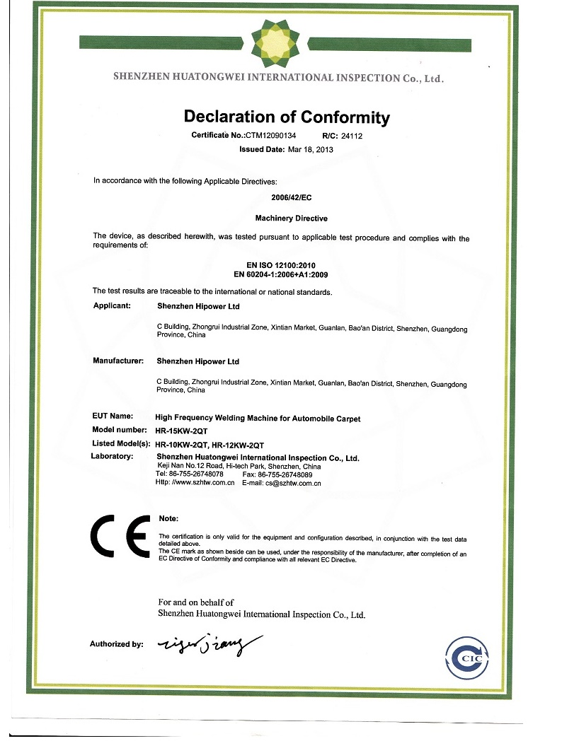 CE for HF welder